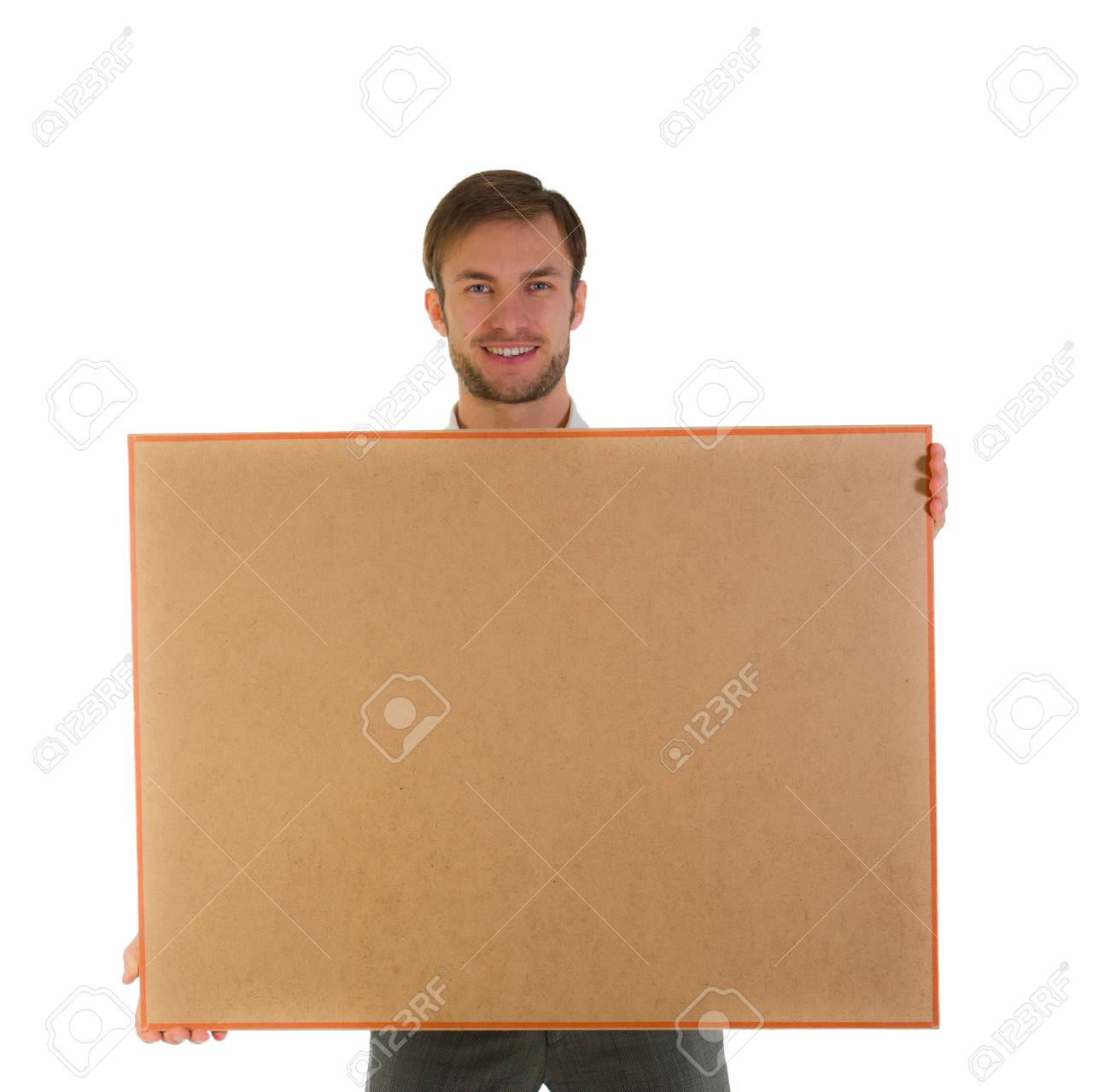 simatichny cheerful businessman with a board in the hands, isolated on a white background Stock Photo - 18600749