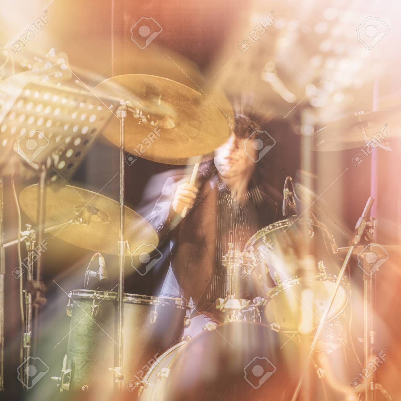 Drum Set Music And Jazz Band Concept A Musician Playing With