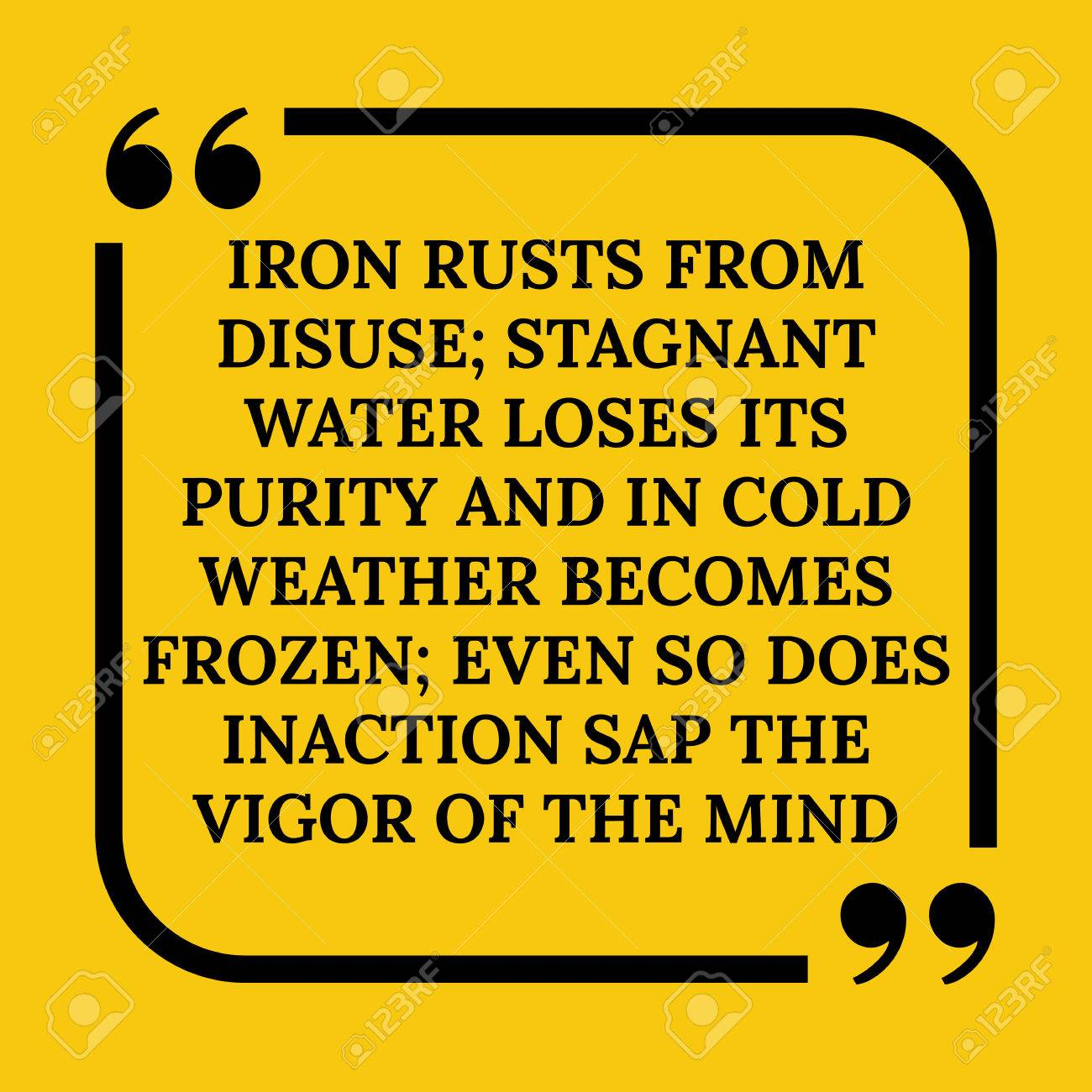 19df7ccb26 Motivational quote. Iron rusts from disuse; stagnant water loses its purity  and in cold