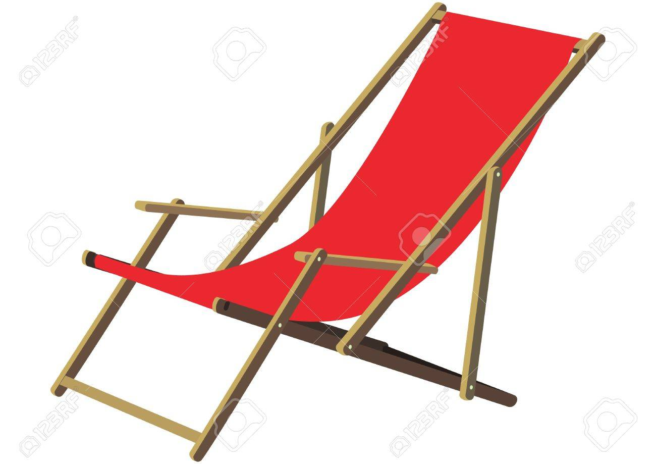 Attractive A Classic Wooden Sun Deck Chair With Red Fabric Ldt To Relax Gemtlichen A  Deckchair Stock