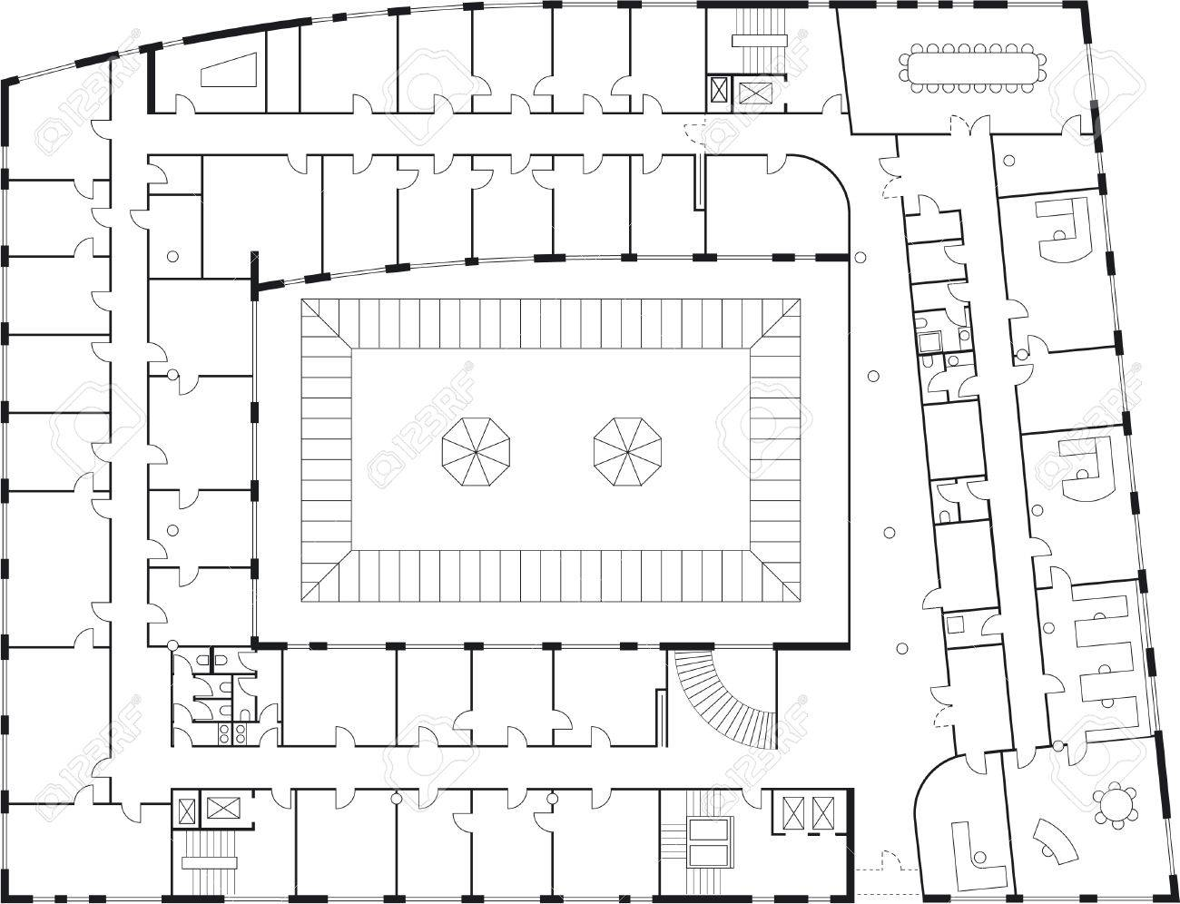 Floor Plan Of A Major Building Furniture And Sanitary Equipment