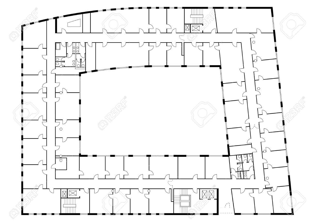 floor plan of a major building furniture and sanitary equipment floor plan of a major building furniture and sanitary equipment are also shown detailed stock vector