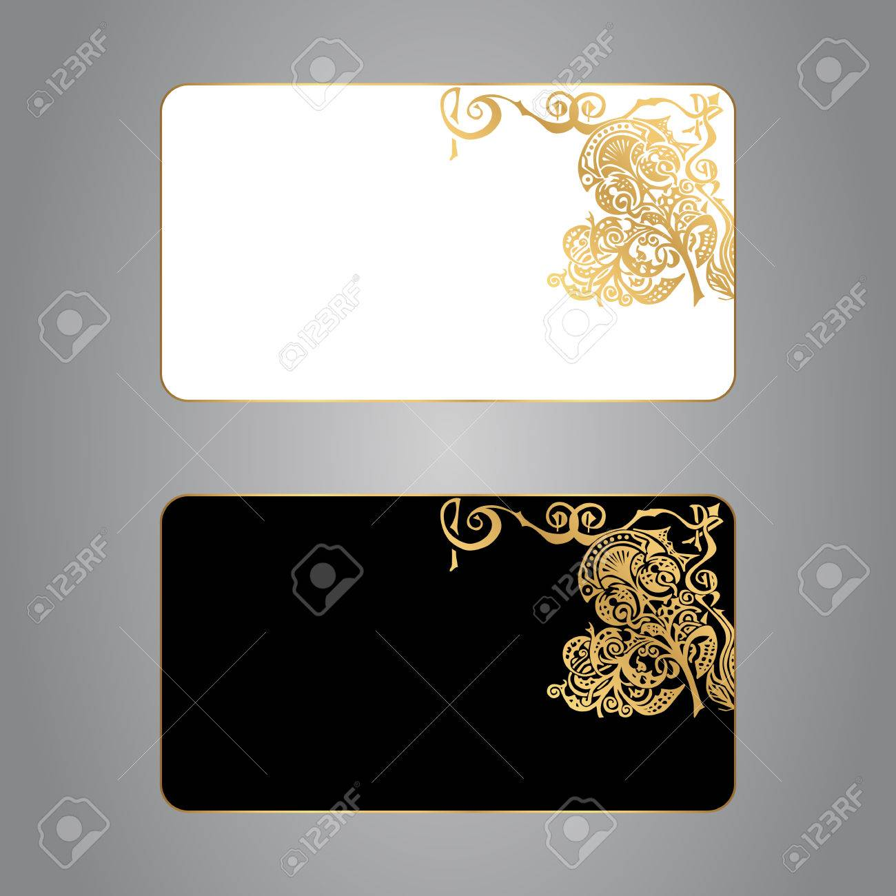 Set of two business cards white and black with a gold ornament set of two business cards white and black with a gold ornament vector stock reheart Choice Image