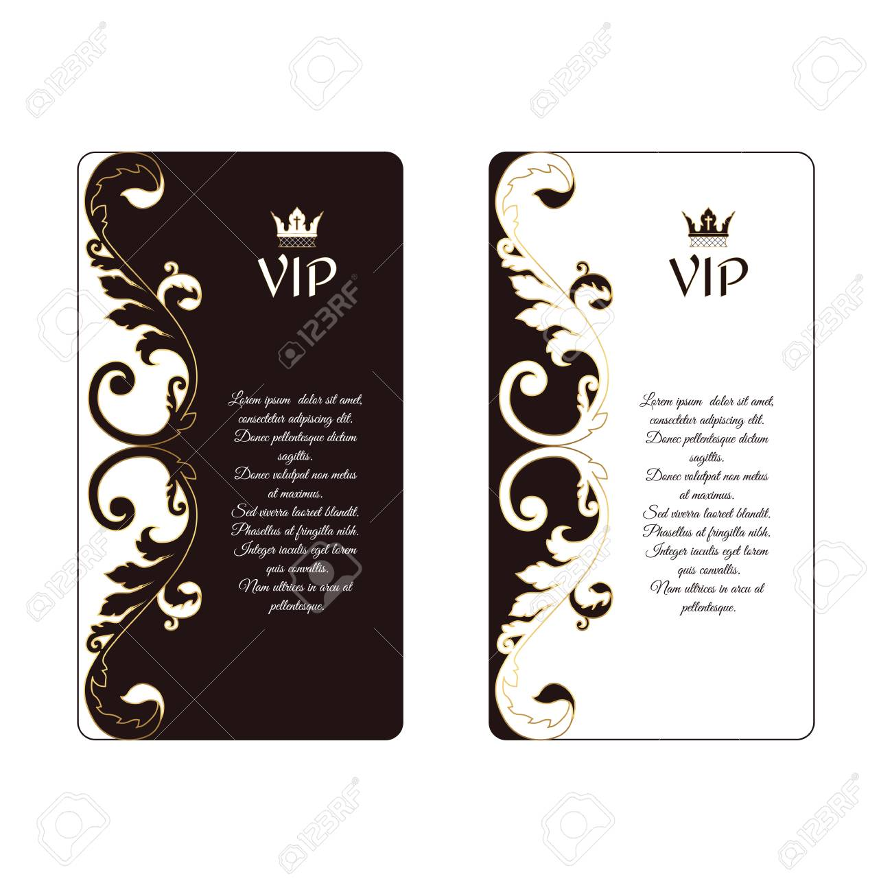 Set Of Two Elegant Vertical Business Cards In Victorian Style
