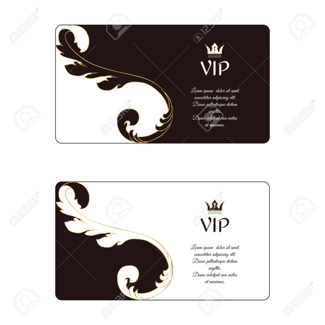 Set Of Two Elegant Horizontal Business Cards In Victorian Style