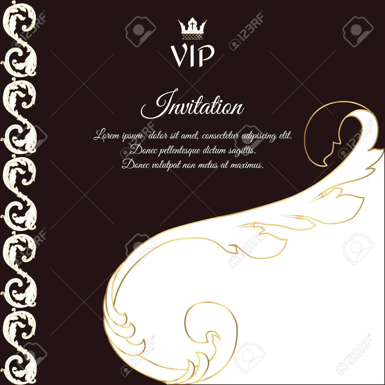 Elegante Braune Karte Für VIP-Grüße Und Einladungen. Im ...
