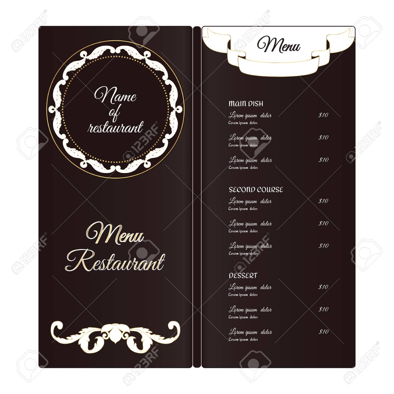 elegant vertical restaurant menu template it is executed in