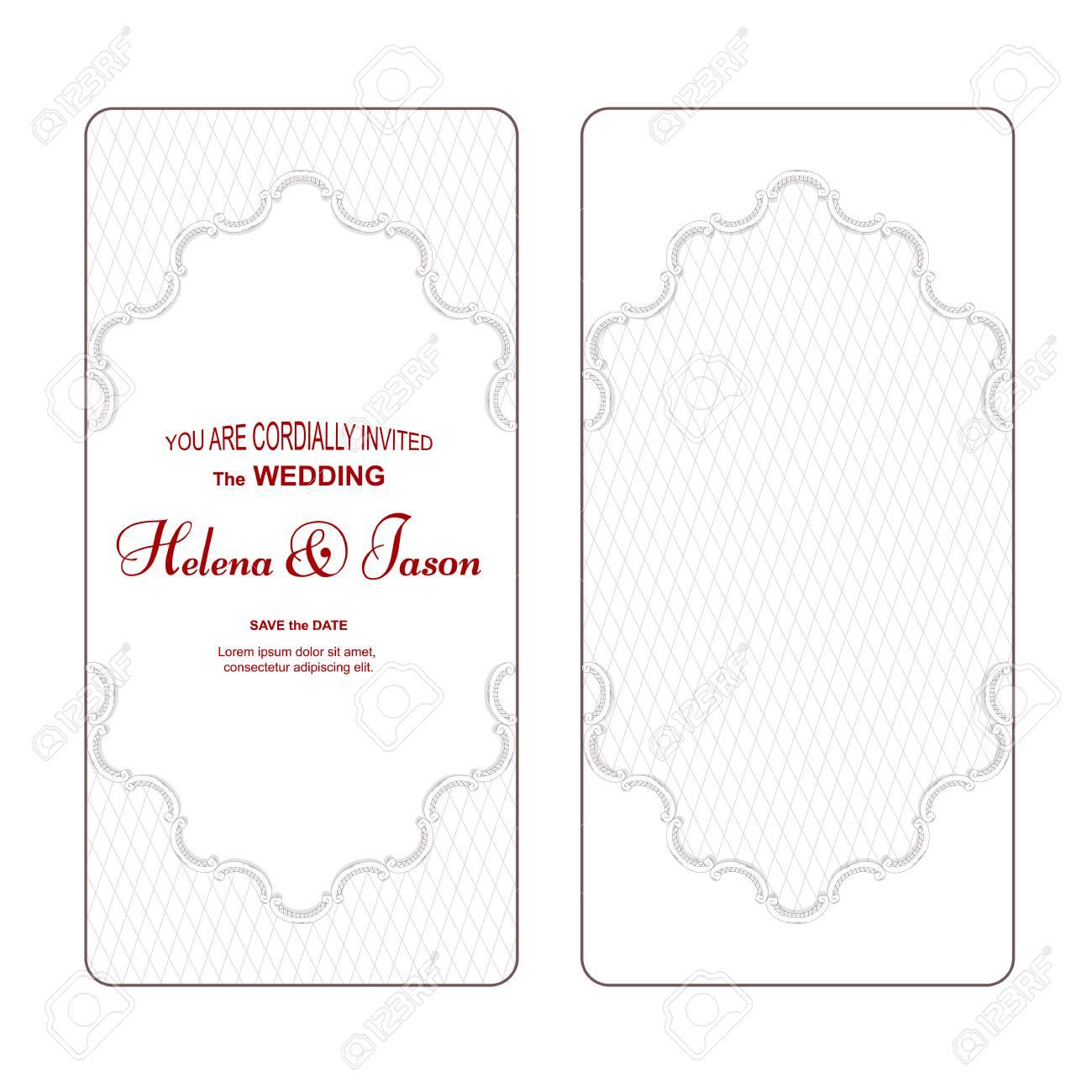 An Elegant Vertical Vintage White For The Wedding Invitation ...
