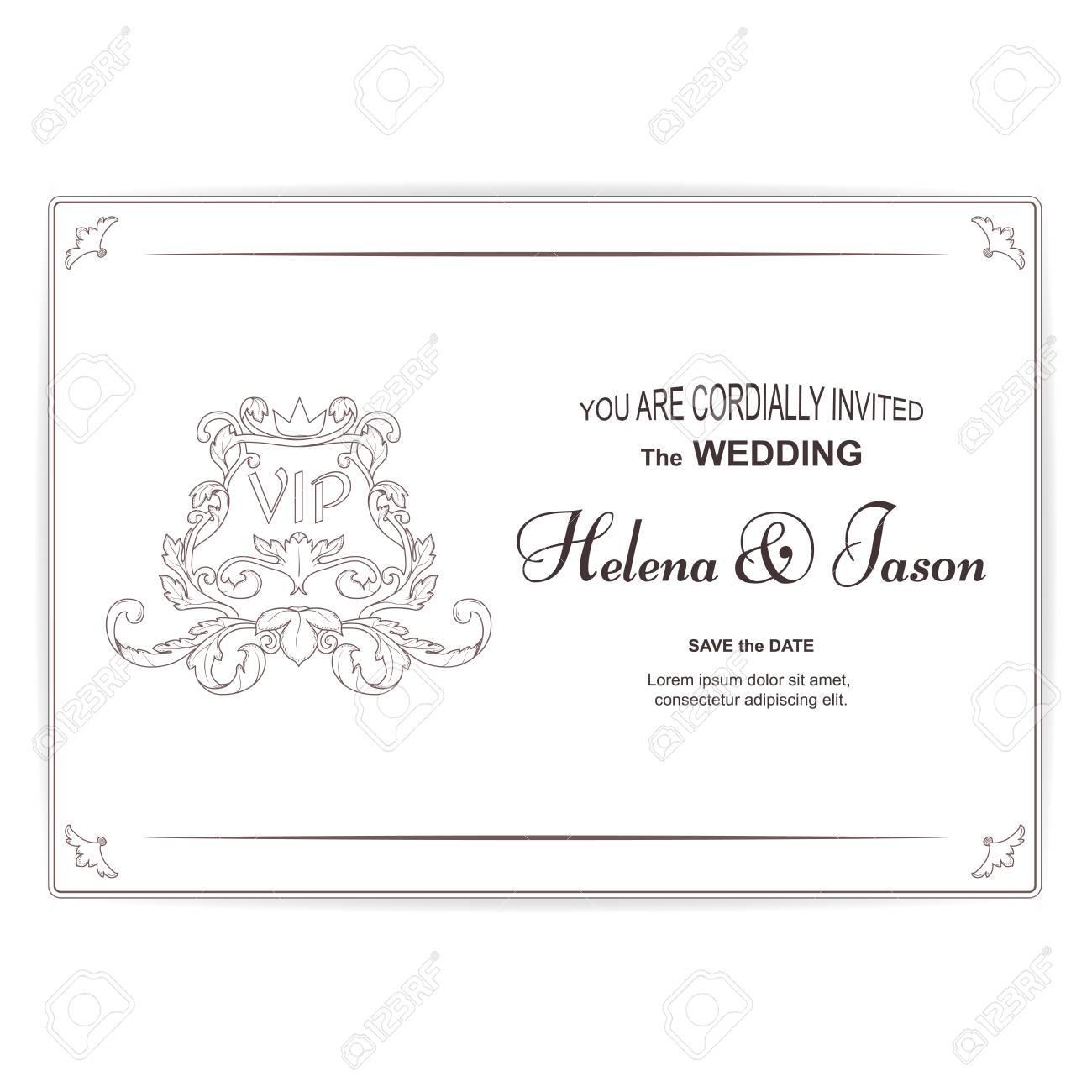 Elegant Horizontal Vintage White Postcard For The Wedding Invitation ...