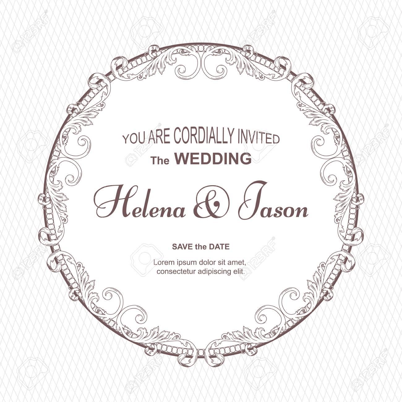 Runde Postkarte Der Eleganten Weinlese Für Die Einladung Zur Hochzeit,  Weiße Farbe Mit Einer Geriffelten