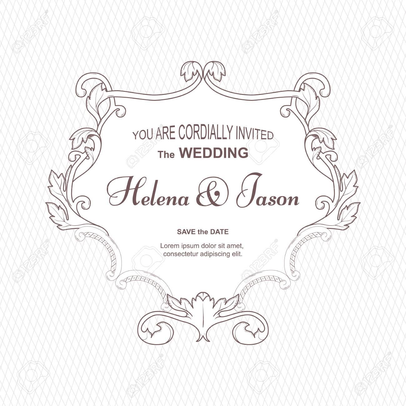 Elegant Vintage Frame For The Wedding Invitation, White. The ...