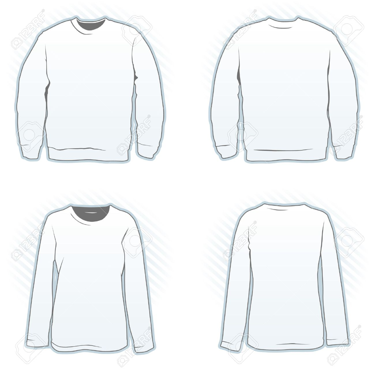 Sweatshirt Design Template Set Male And Female Front And Back - Sweatshirt design template
