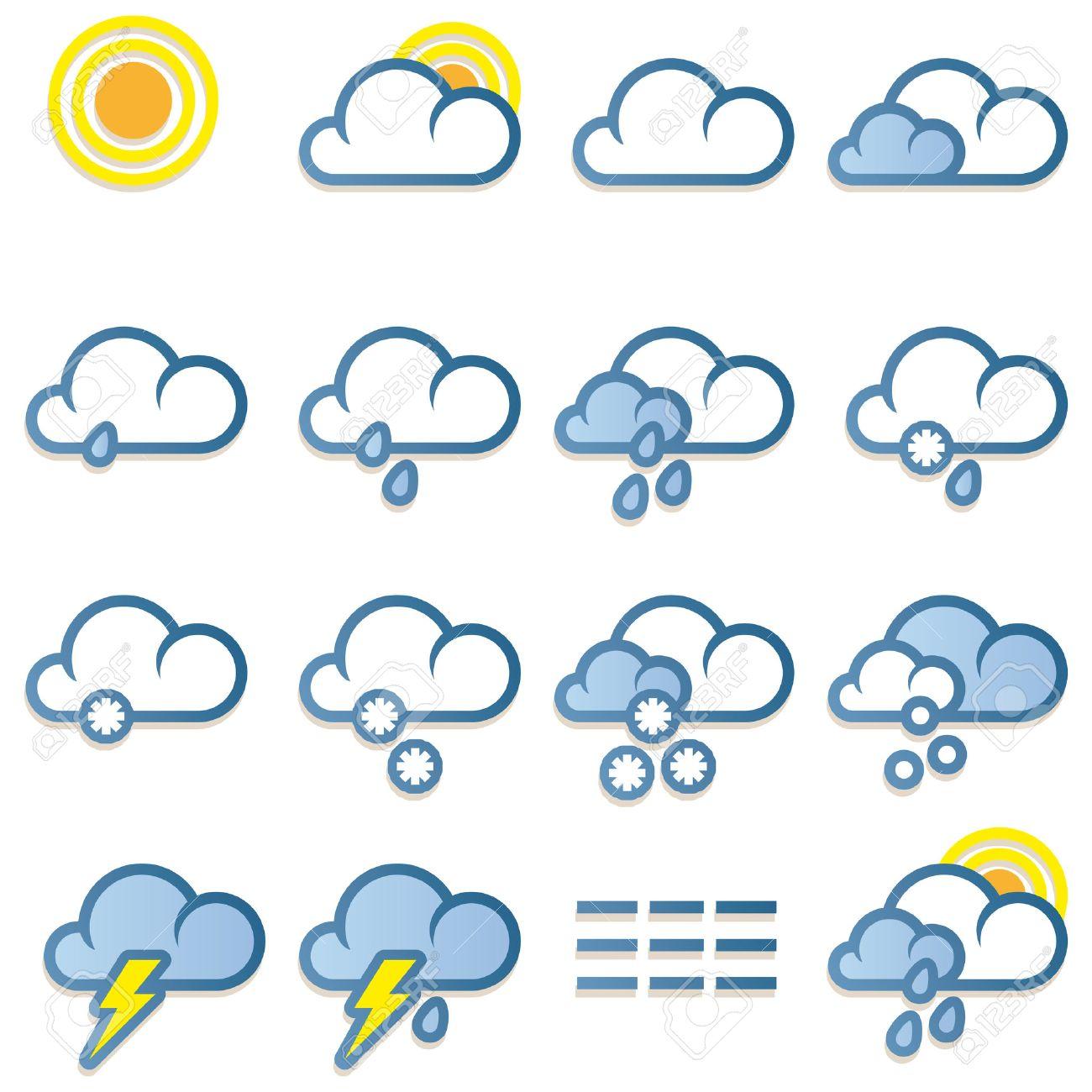 Weather forecast icons set on white background Stock Vector - 8873820