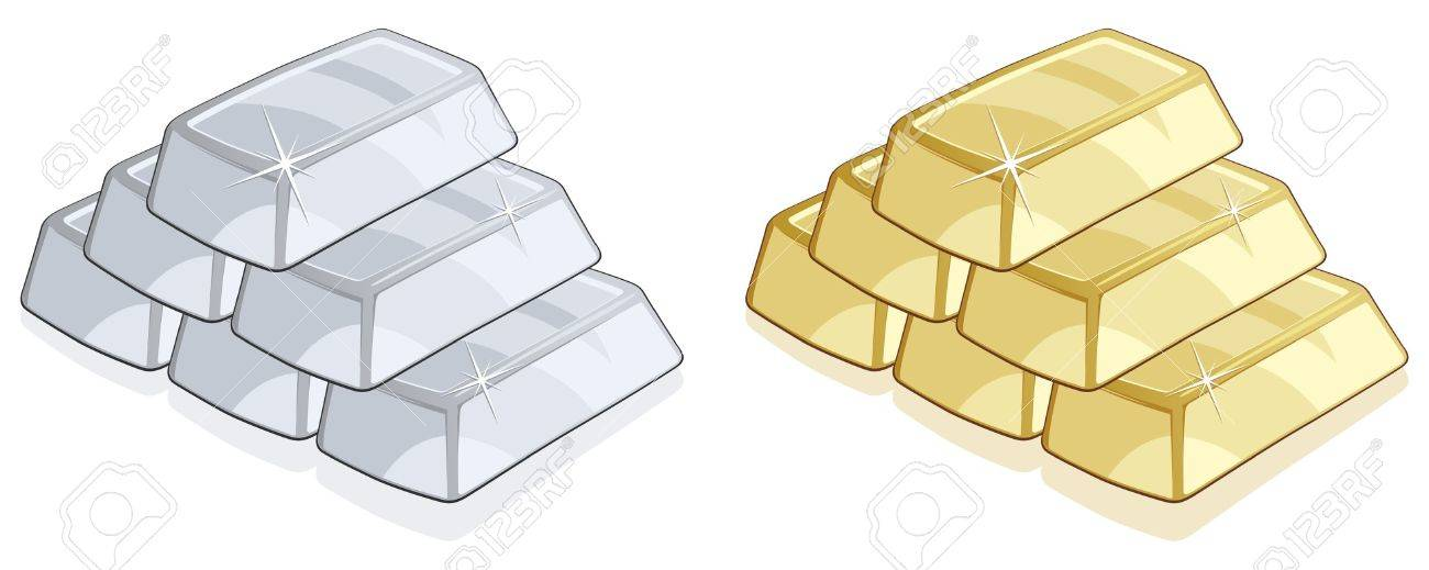 Piles of gold and silver bars isolated Stock Vector - 10562016