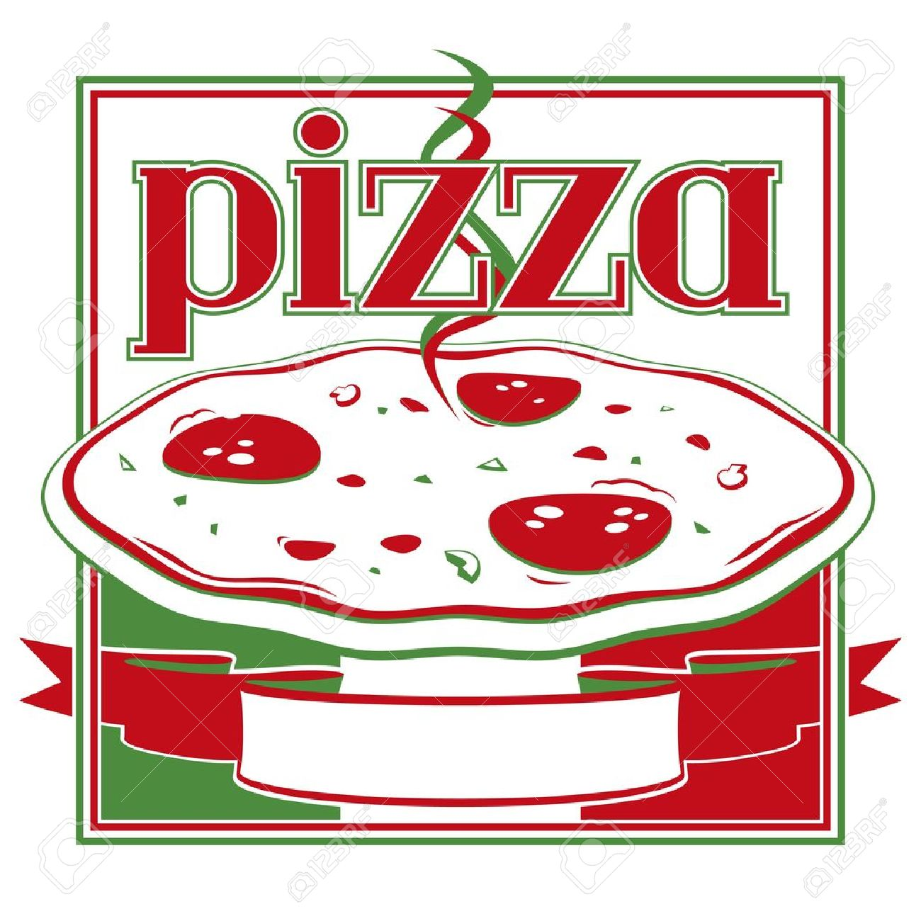 Italian red and green pizza box cover design template - Vector Stock Vector - 11091337