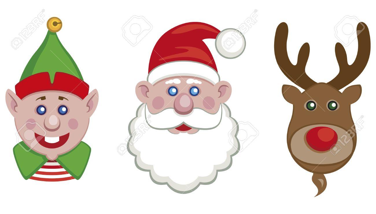Portraits of Santa, helper elf and reindeer isolated Stock Vector - 11995109