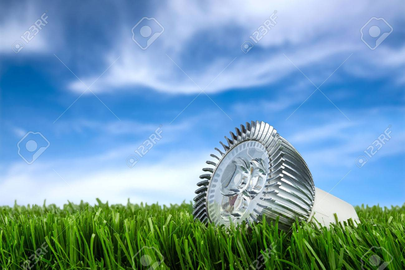 led buld on grass in front of blue sky Stock Photo - 26055102