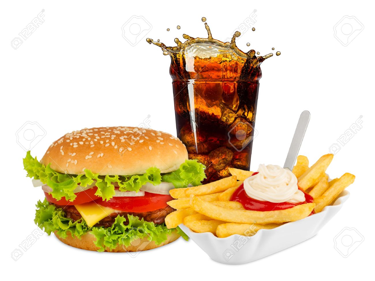 Fast food meal on white background - 40558742