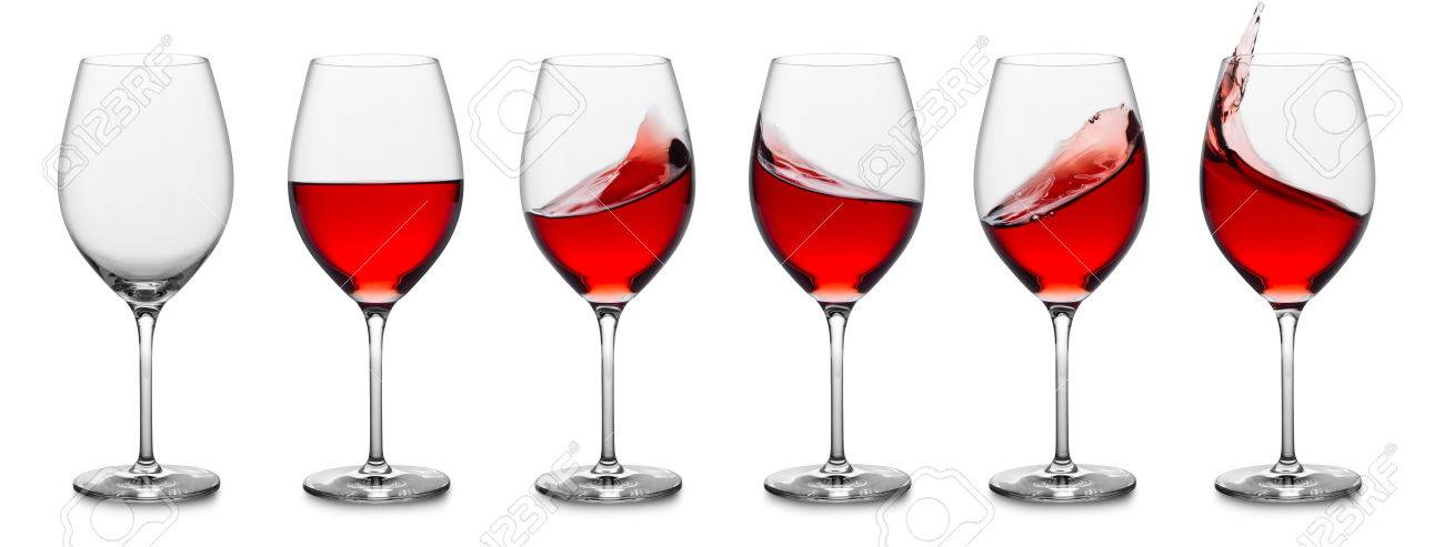 row of rose wine glasses, full, empty and with splashes. - 40562314
