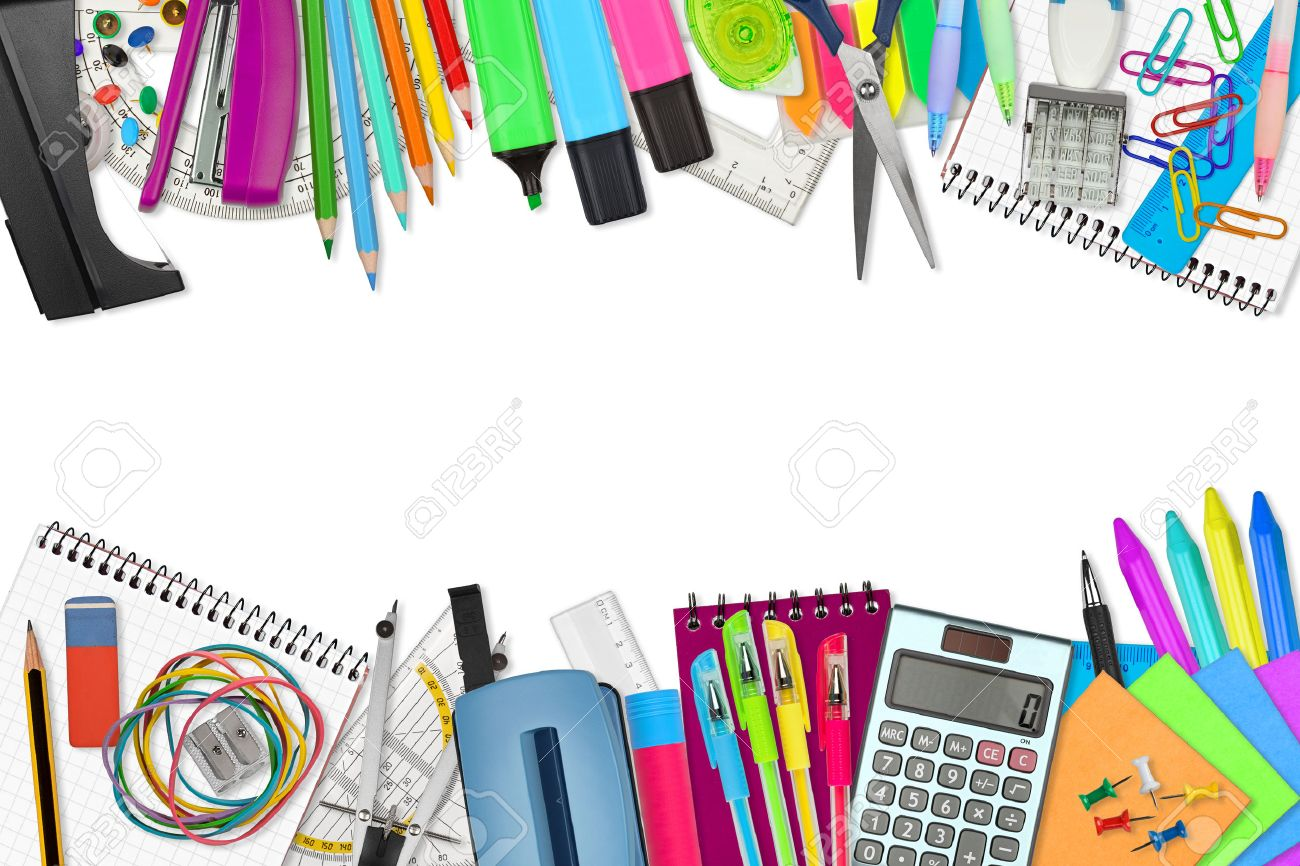 School / Office Supplies On White Background Stock Photo, Picture ...