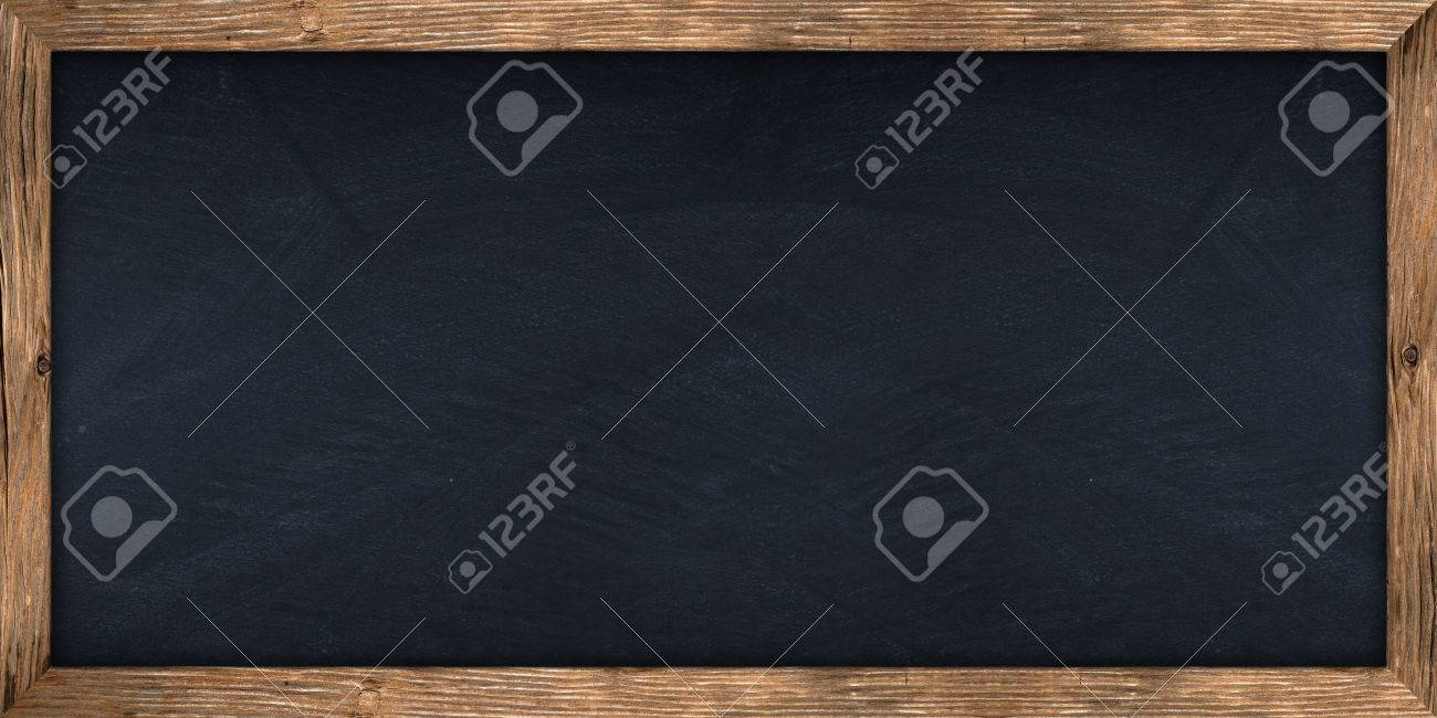 frame wide blackboard with wooden frame stock photo