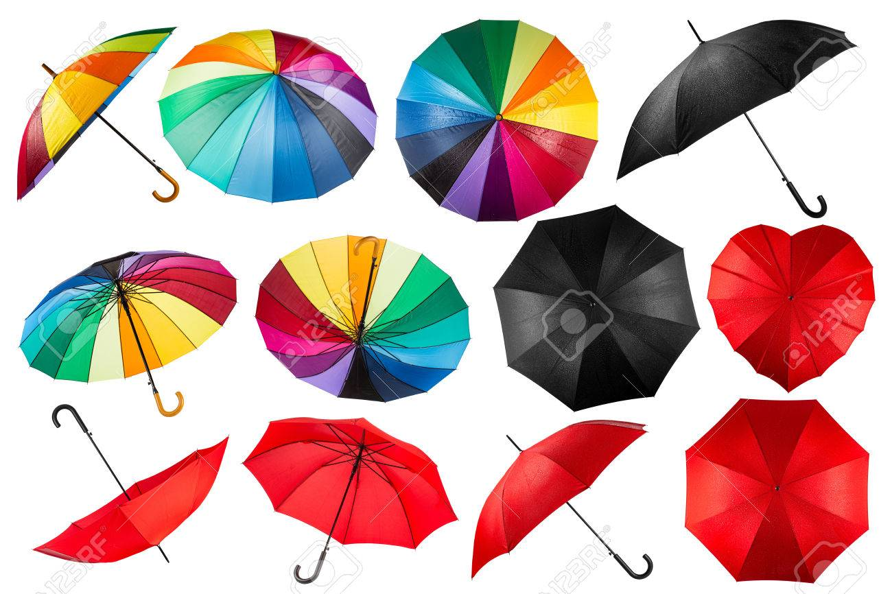 collection of black red and rainbow umbrellas isolated on white background - 44150941