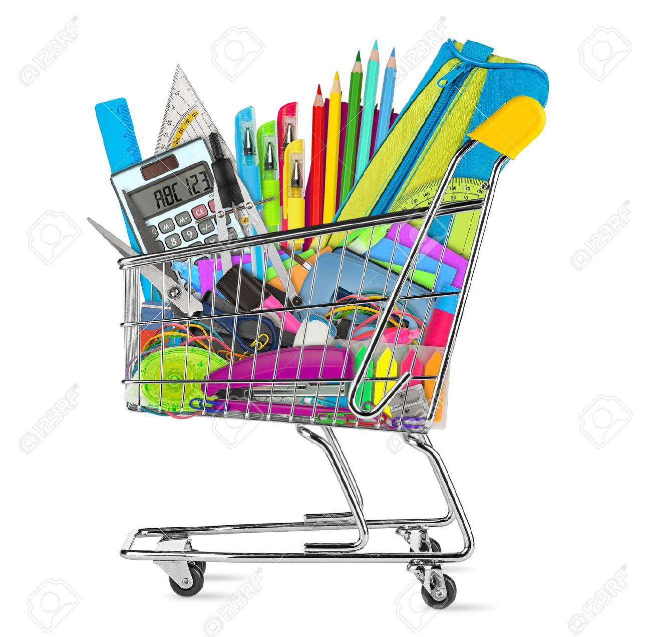 school / office supplies in shopping cart isolated on white background - 44151147