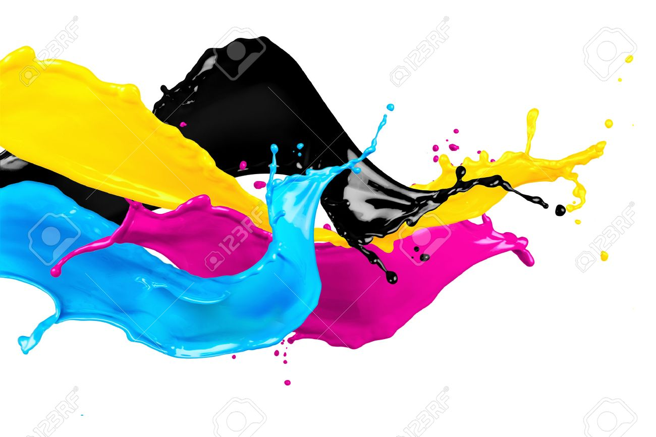 abstract CYMK color splash isolated on white background - 54718979