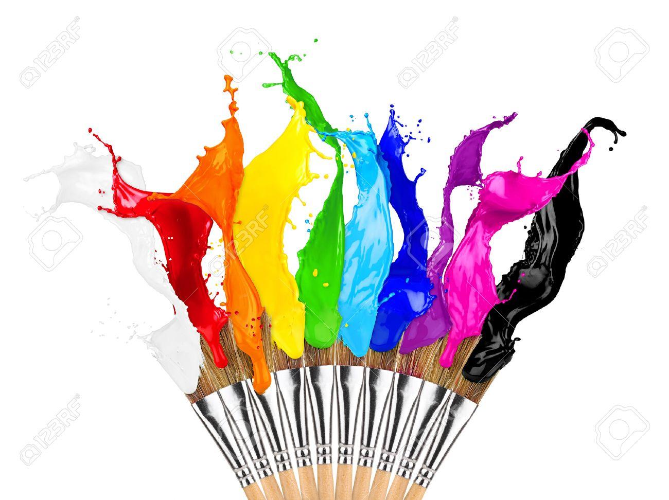 colorful color splashes paintbrush row isolated on white background - 54718977