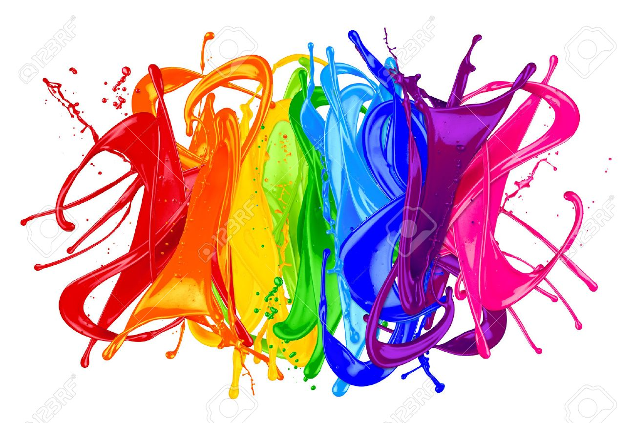 abstract color splash isolated on white background stock photo