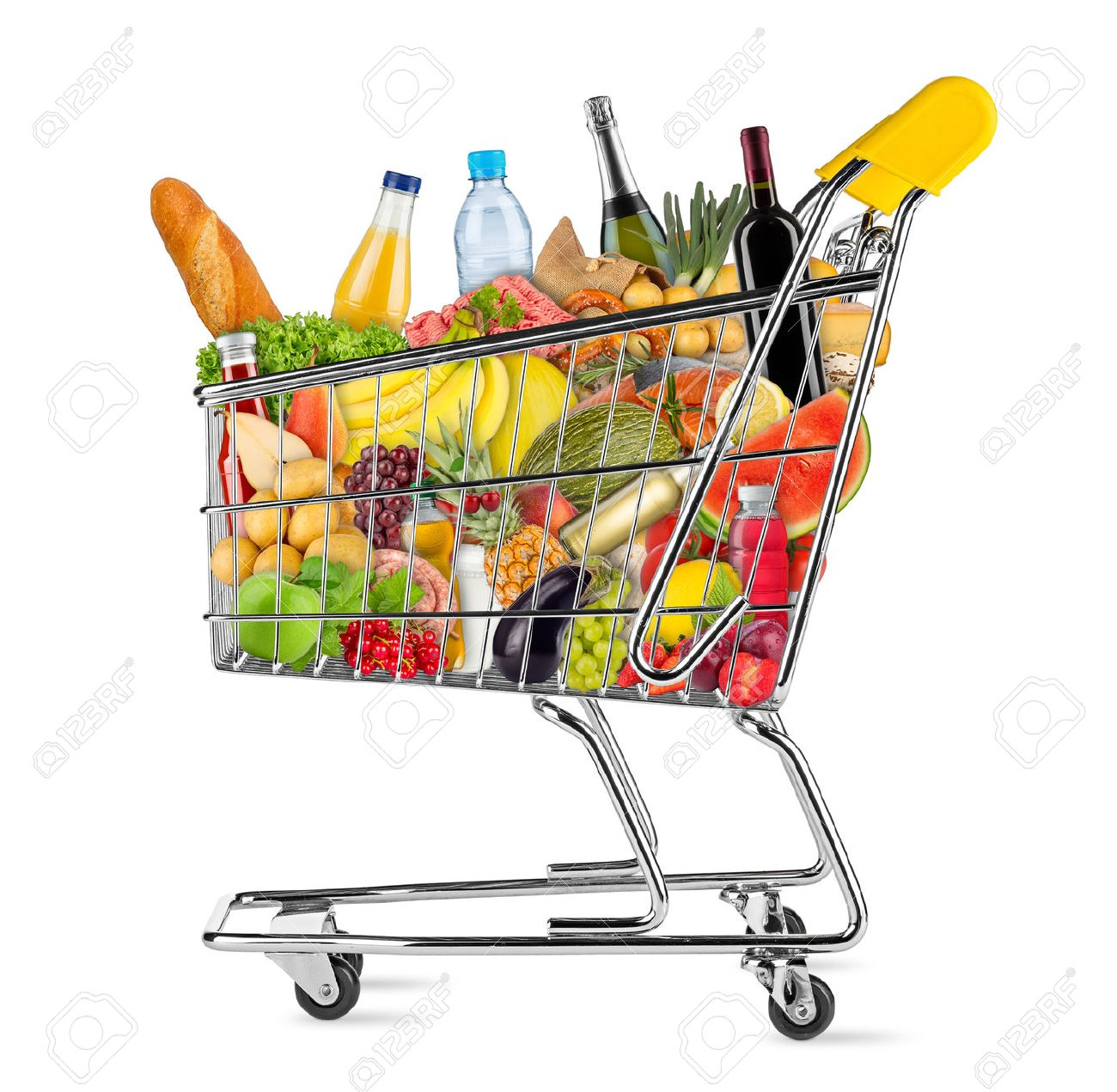 yellow shopping cart filled with various food and beverages isolated on white background - 61038875