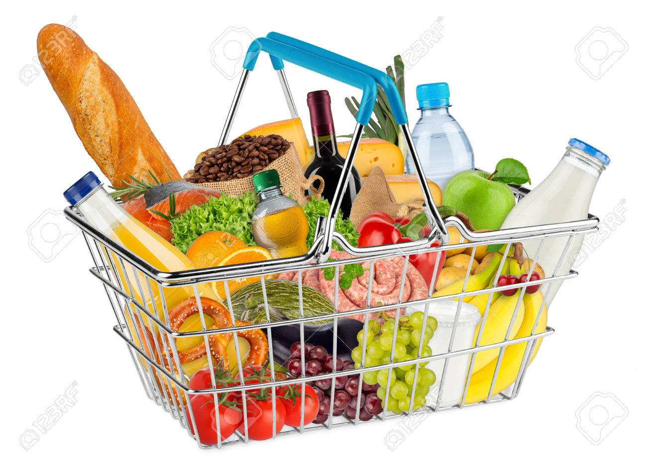 blue shopping basket filled with various food and beverages isolated on white background - 61036794