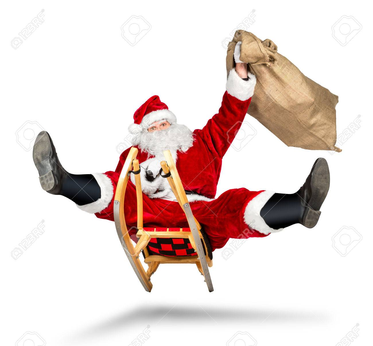 crazy santa claus on his sleigh hilarious fast funny crazy xmas christmas gift present delivery isolated white background - 68607669