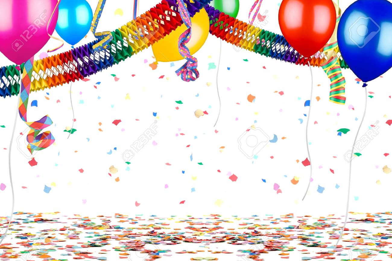 colorful empty party carnival birthday celebration background with colorful streamer air balloon garland isolated on white - 71965462