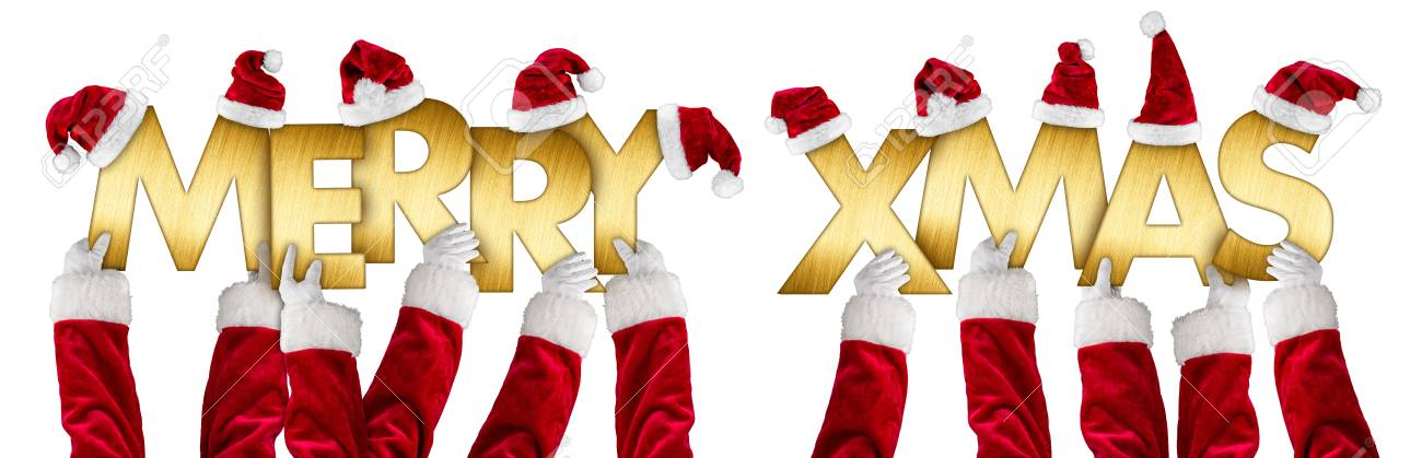 Santa hands holding up merry xmas christmas greeting golden shiny metal letters lettering with red white hats isolated wide panorama background - 89019983