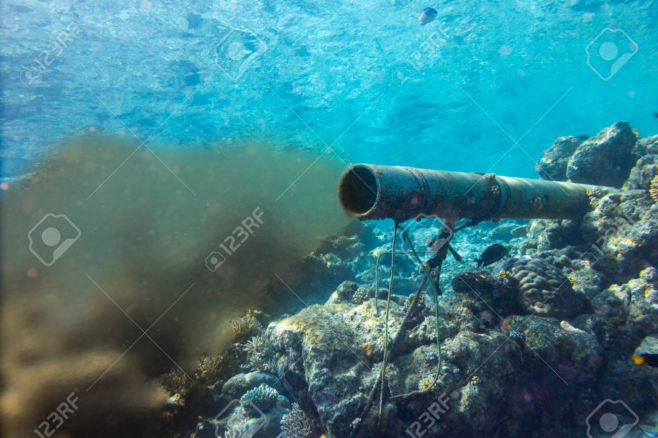 underwater sewer wastewater pipe in coral reef enviroment nature protection damage pollution sea ocean concept background - 116778730