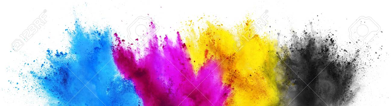 colorful CMYK cyan magenta yellow key holi paint color powder explosion print concept isolated on white background - 121537014