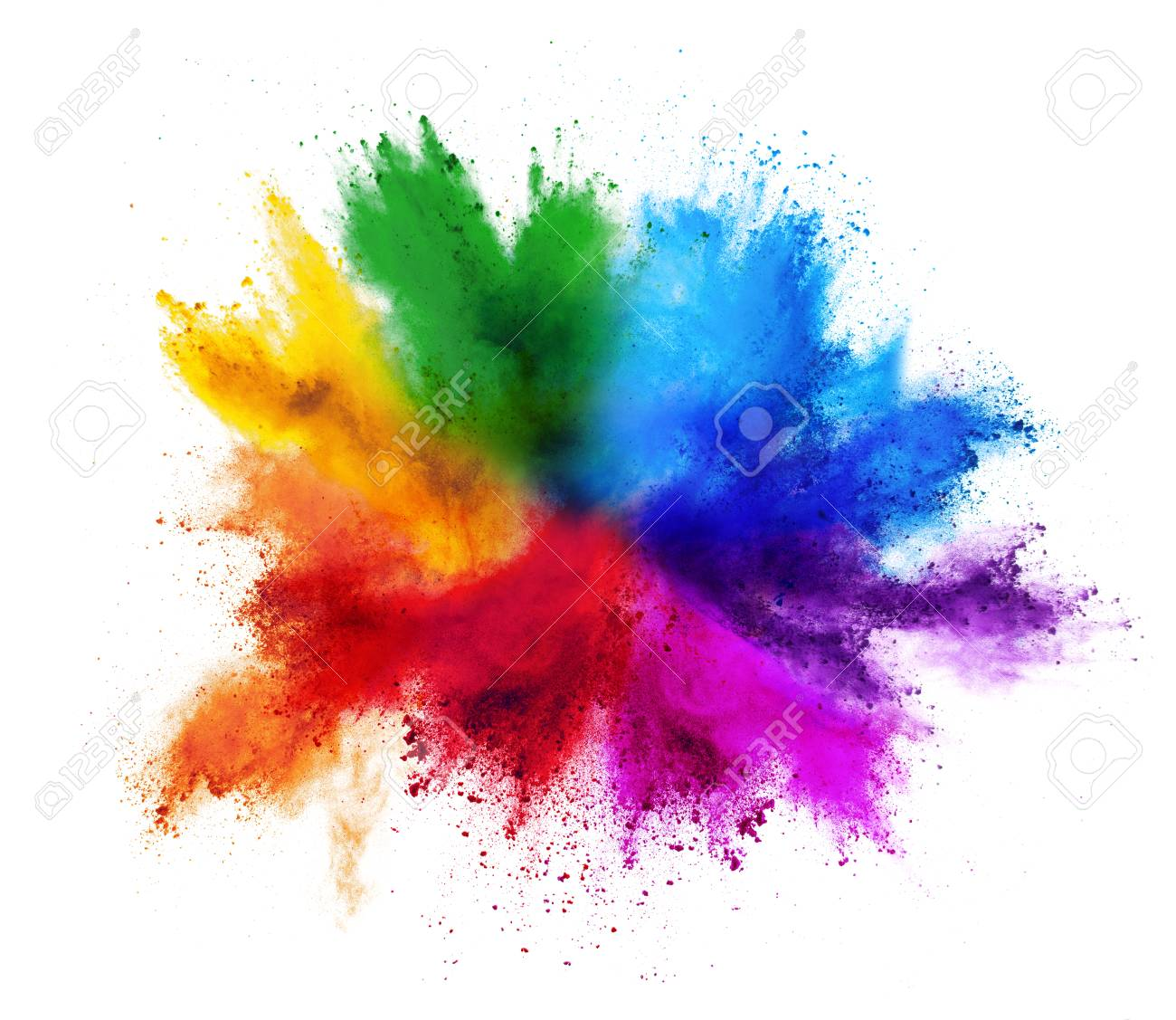 colorful rainbow holi paint color powder explosion isolated on white background - 121537050