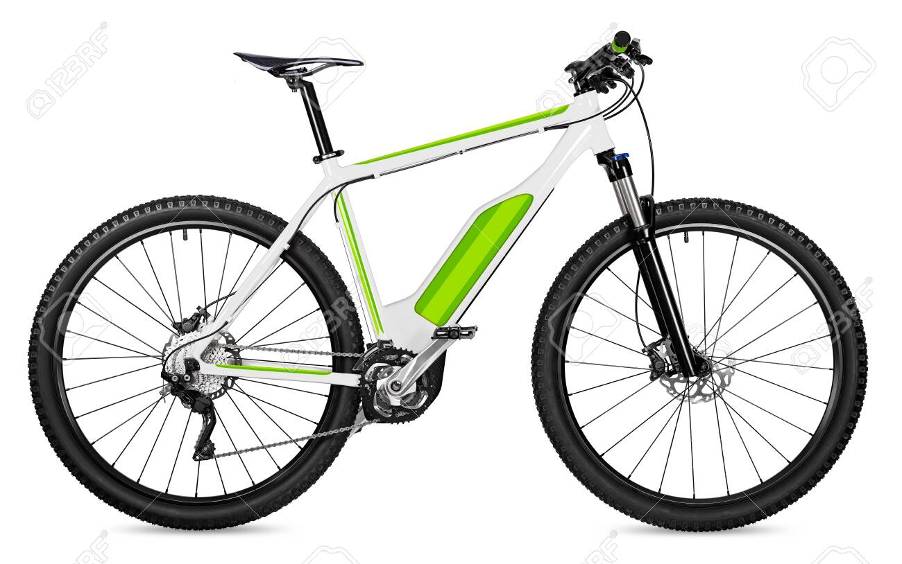 fantasy fictitious design of an ebike pedelec with battery powered motor bicycle moutainbike. mountain bike ecology modern transport concept isolated on white background - 131260905
