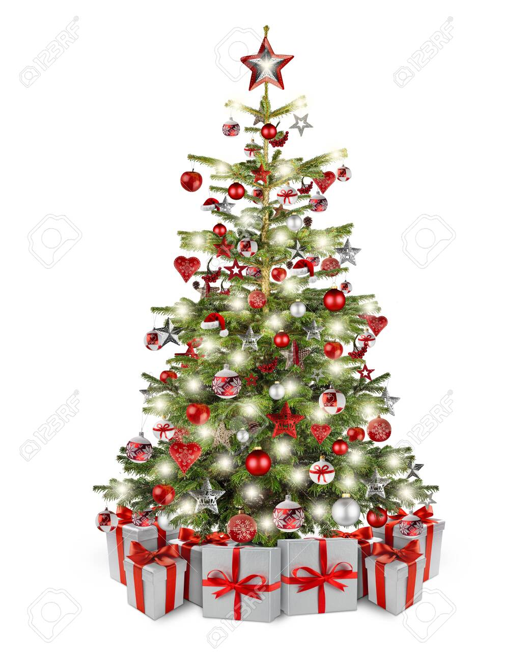 Natural Nordmann Christmas Tree Decorated With Silver Red Wooden Stock Photo Picture And Royalty Free Image Image 136978939