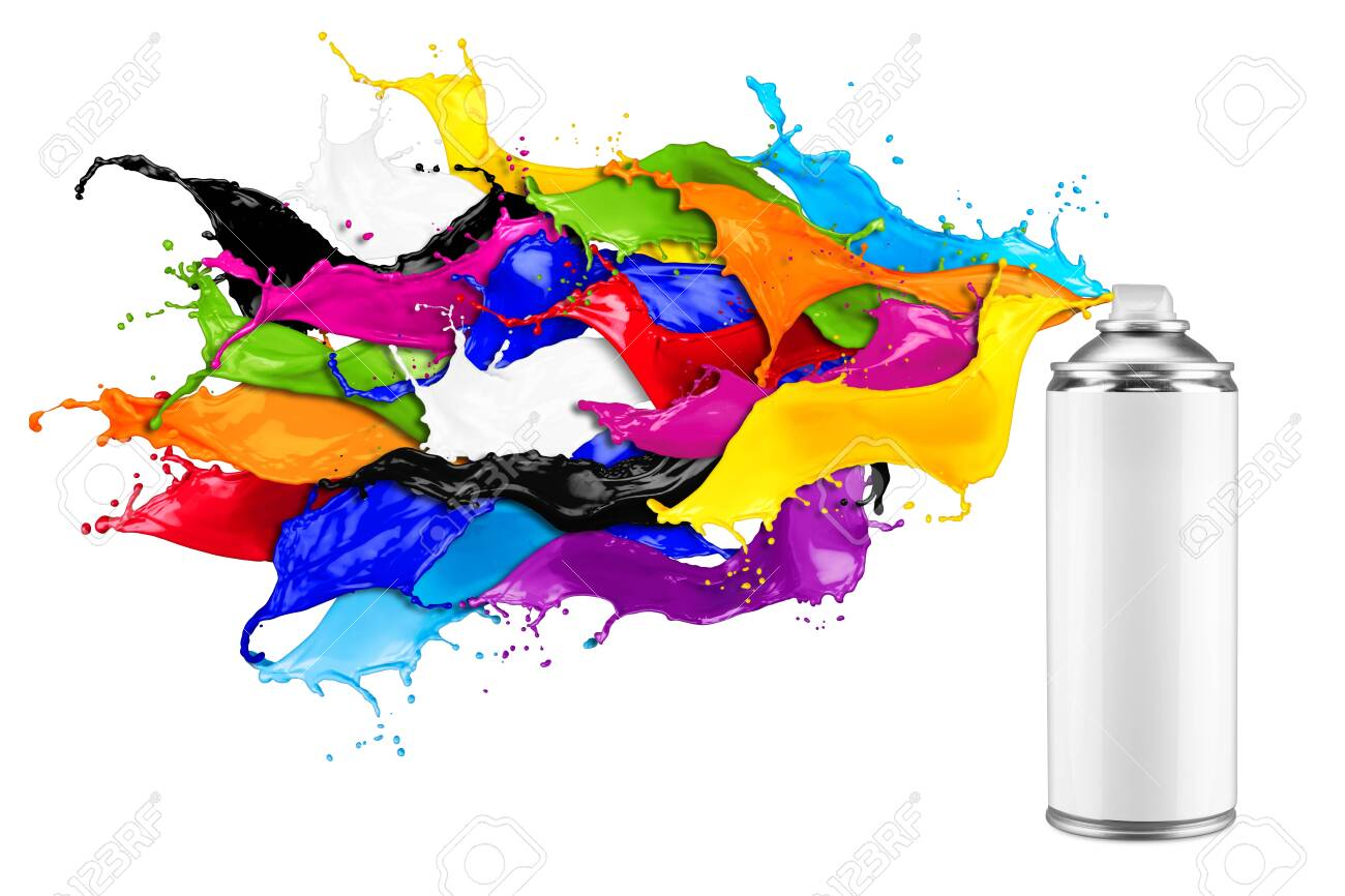 spray can spraying colorful rainbow paint liquid color splash explosion isolated on white background. Industry diy paintjob graffiti concept. - 141649166