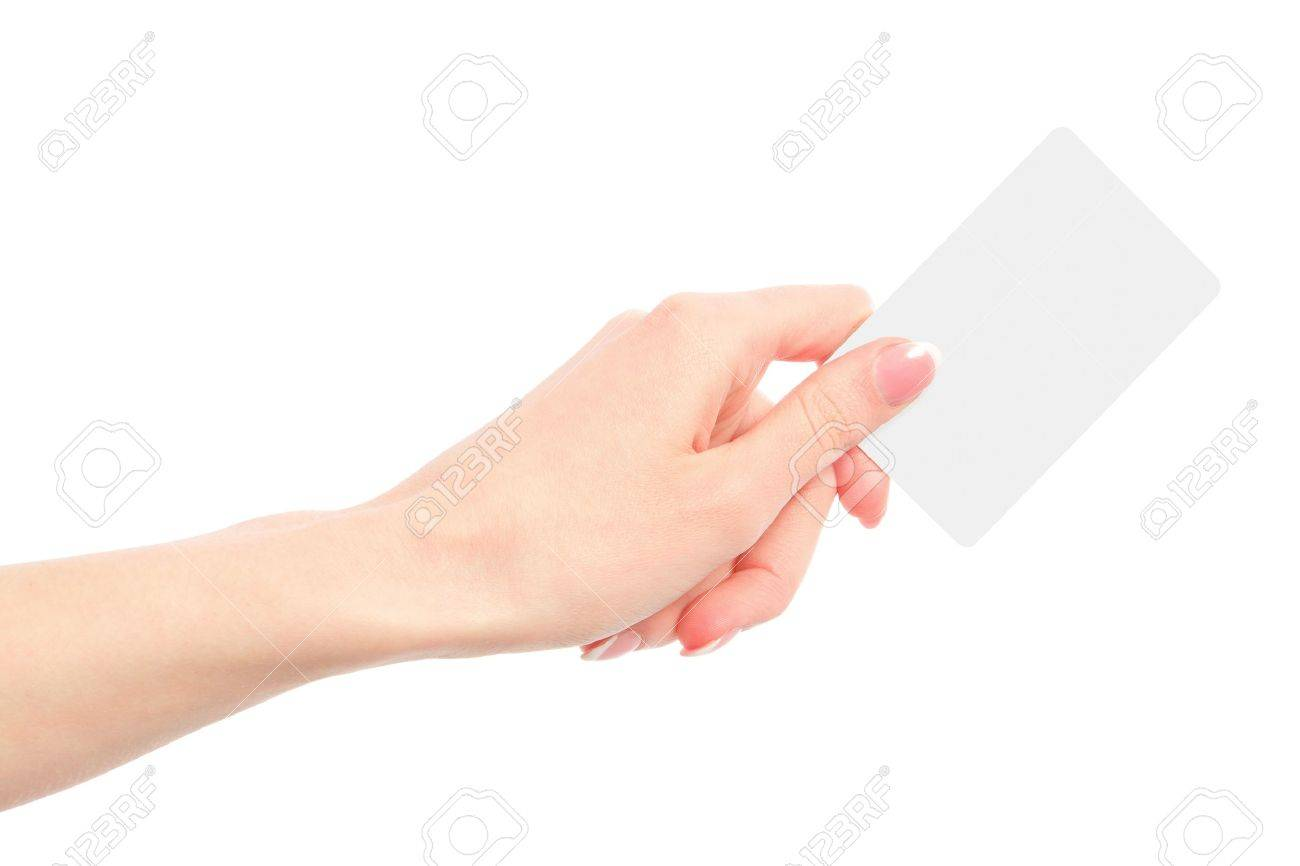 Female Hand Holding A Blank Business Card Stock Photo, Picture And ...