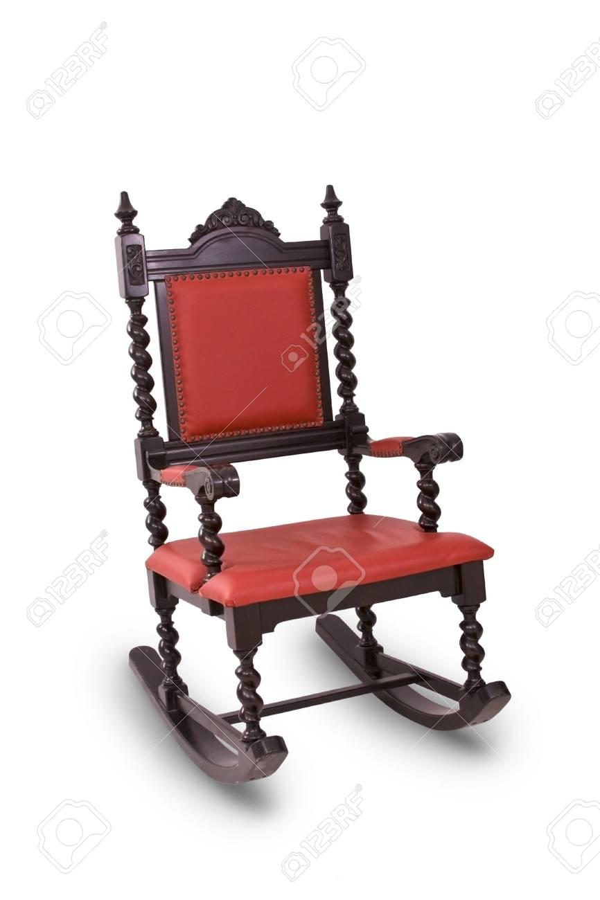 Rosso Antico Cullando Chair Isolati Con Sfondo Bianco Foto Royalty
