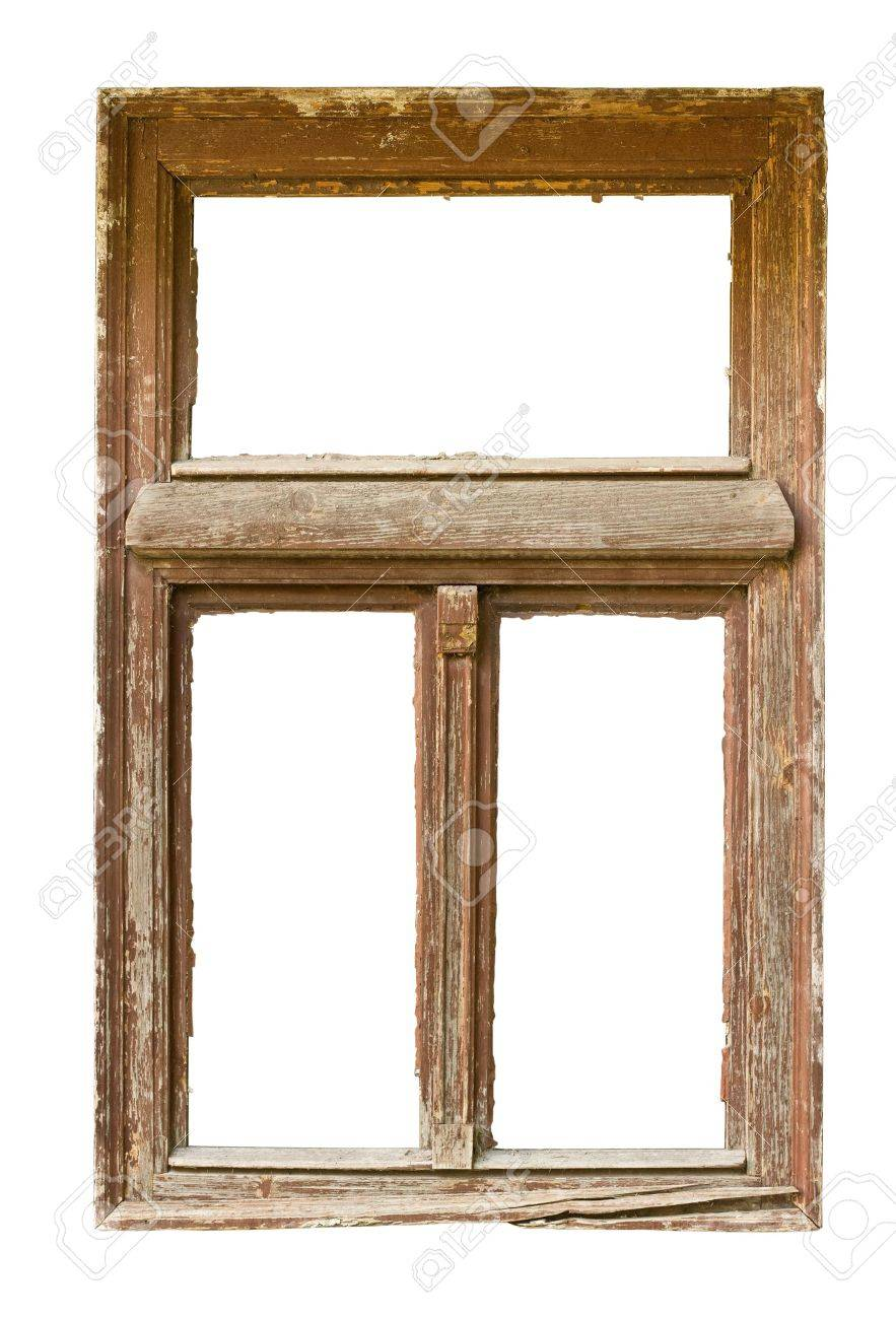 Very Old Grunged Wooden Window Frame Isolated In White Stock Photo ...