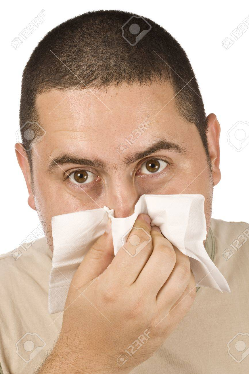 photo of man blowing his nose Stock Photo - 8306711