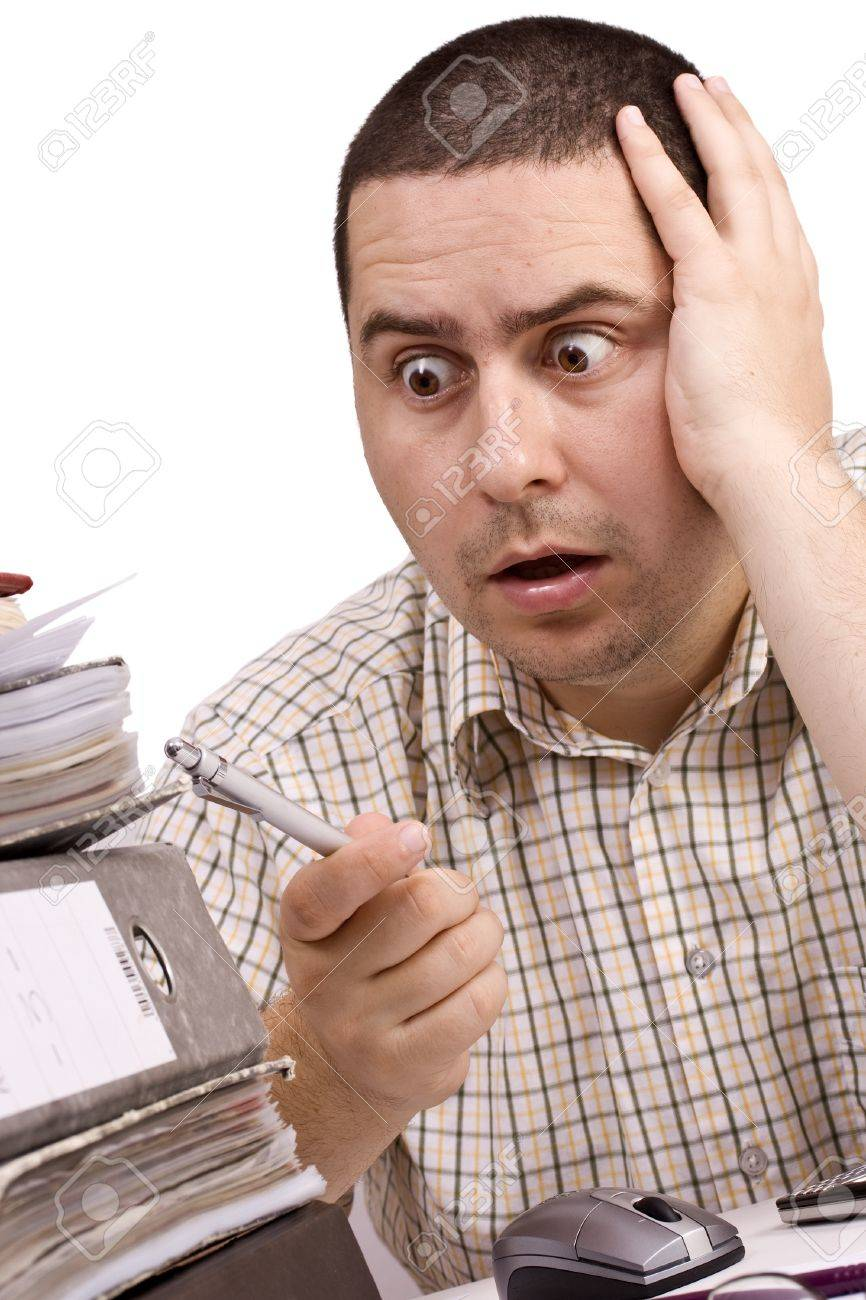 Hard working man in a office Stock Photo - 8306709