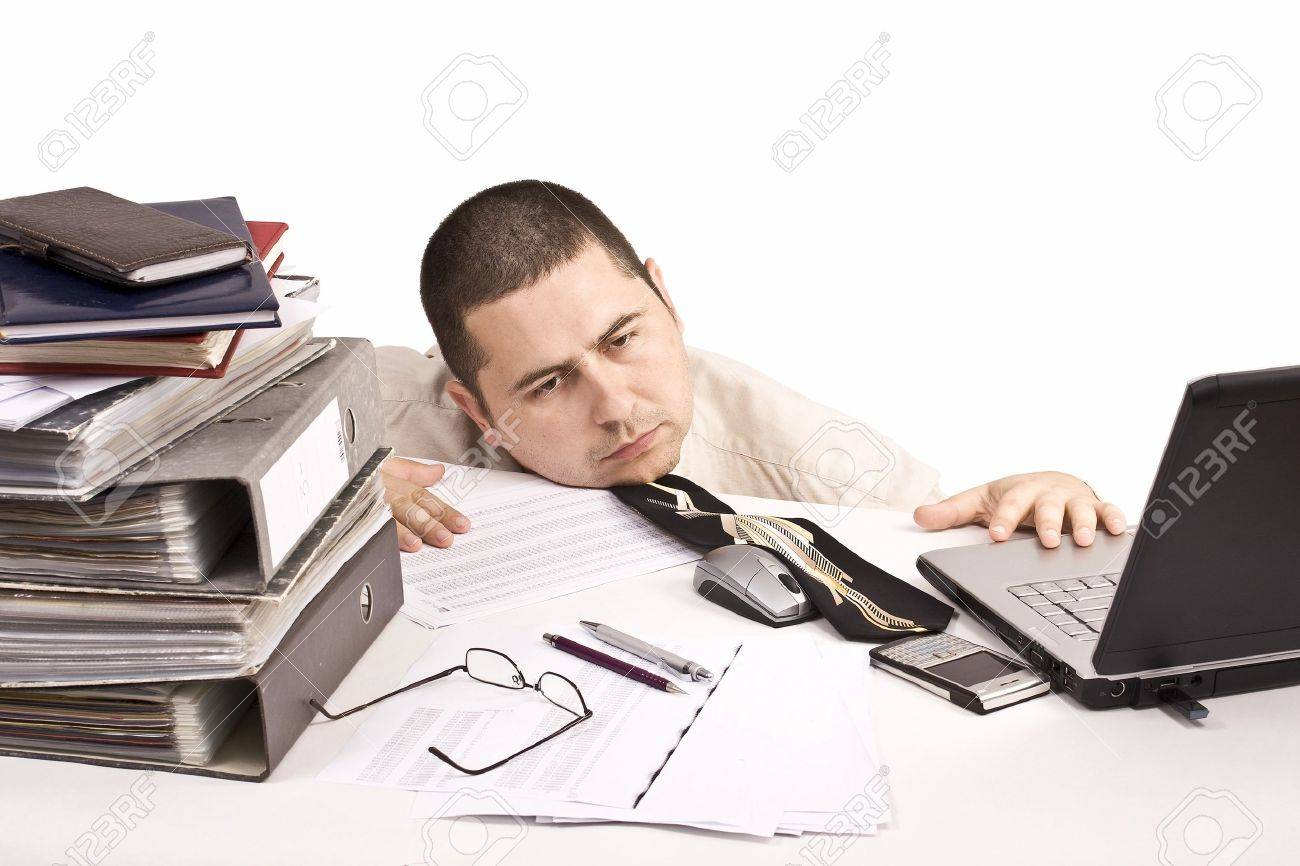 Bad day at work, isolated in white Stock Photo - 8306686
