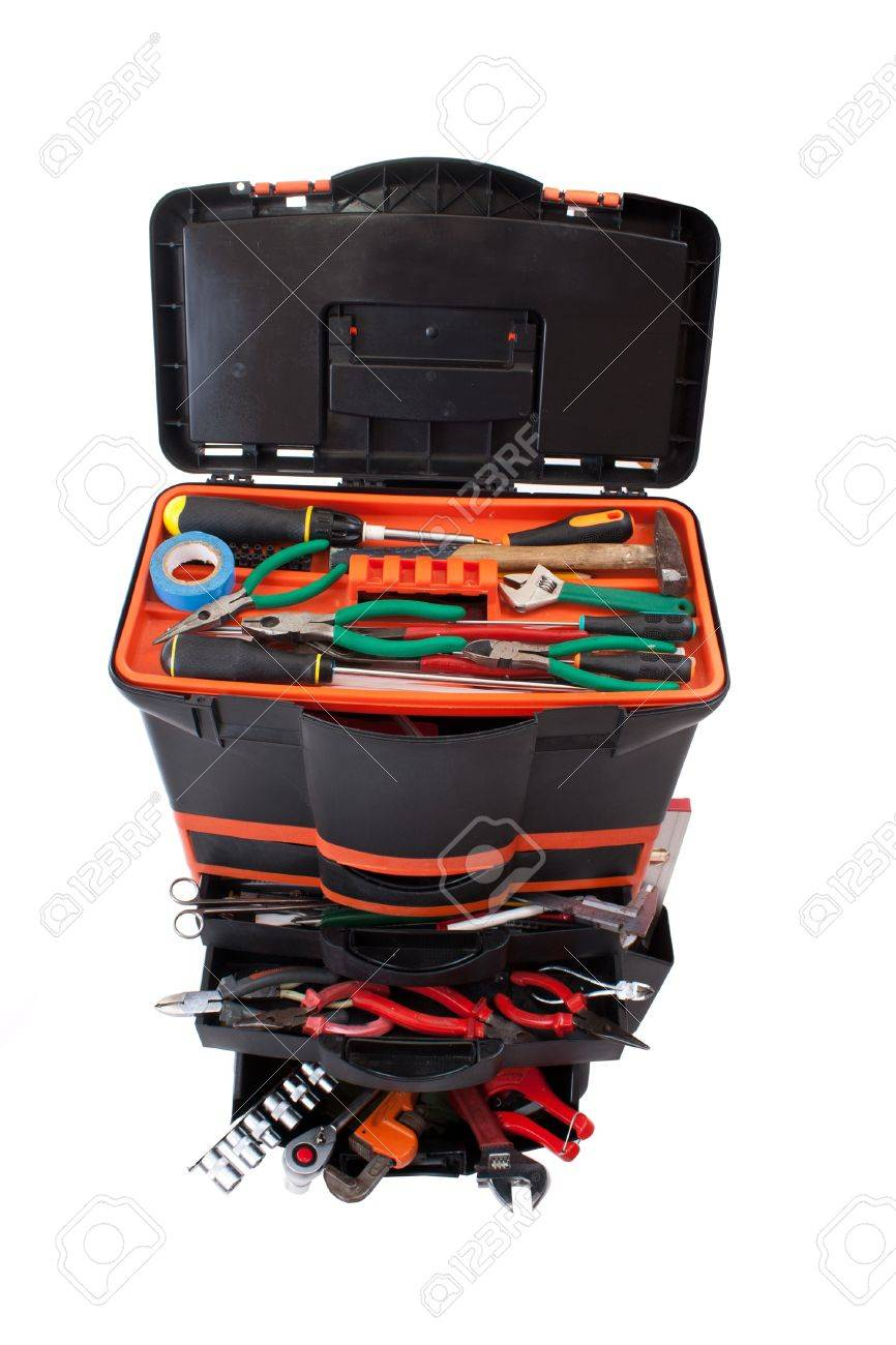 Open tool box with tools isolated on white background Stock Photo - 8929292