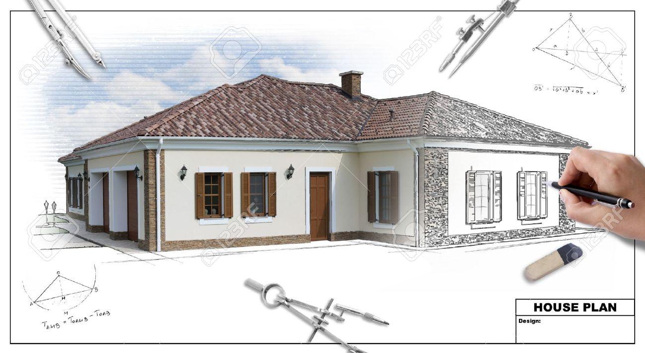 Attractive House Plan Blueprints 2, Designeru0027s Hand Stock Photo   9719032