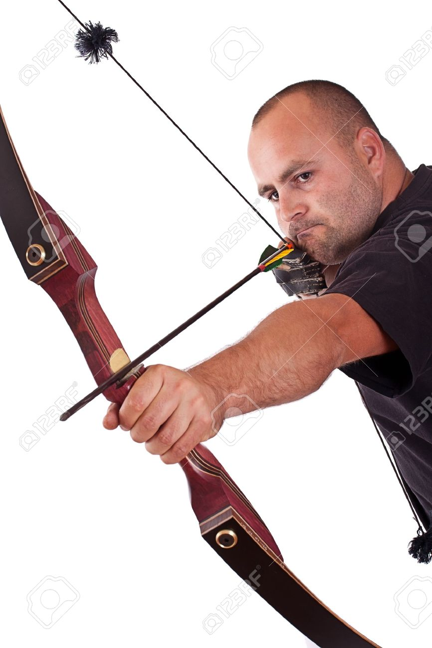 Young man in black shirt holding bow and shooting to target isolated in white Stock Photo - 10770584